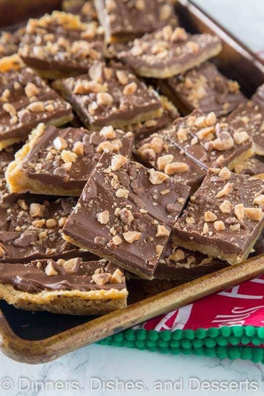 chocolate toffee bars on a board