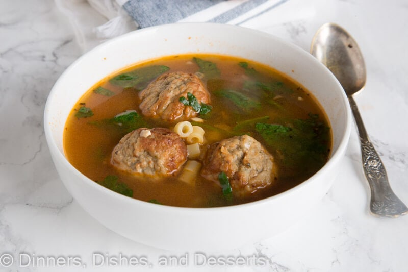 italian meatball soup in a bowl