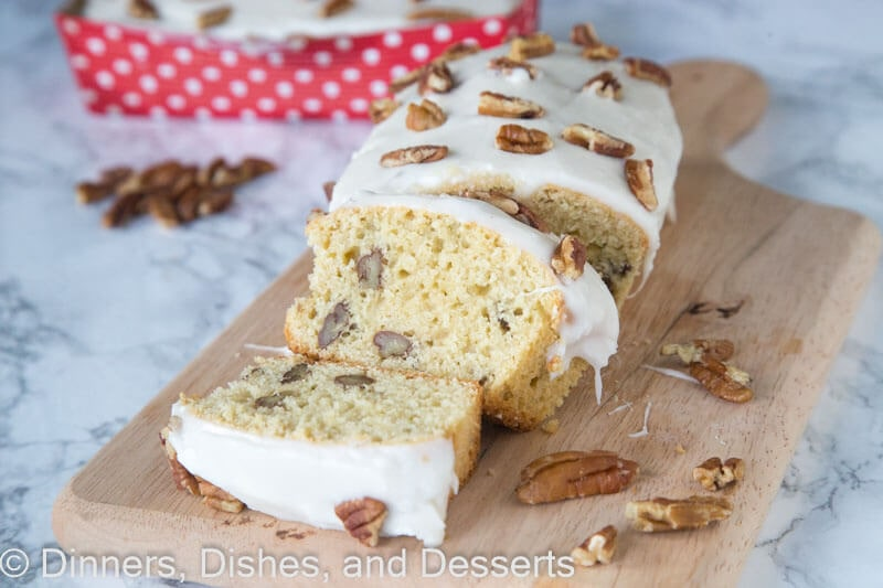 Maple Pecan Loaf - A tender maple loaf studded with pecans and topped with a maple frosting.  This recipe is great for gift giving any time of year.