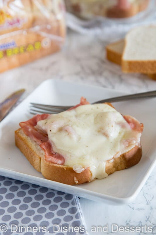 open faced croque monsieur on a plate