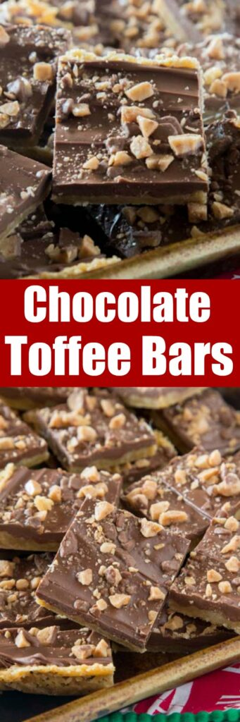 close up of chocolate toffee bars on a board