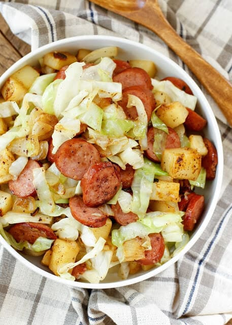20 Minute Kielbasa Cabbage Skillet {Barefeet in the Kitchen}