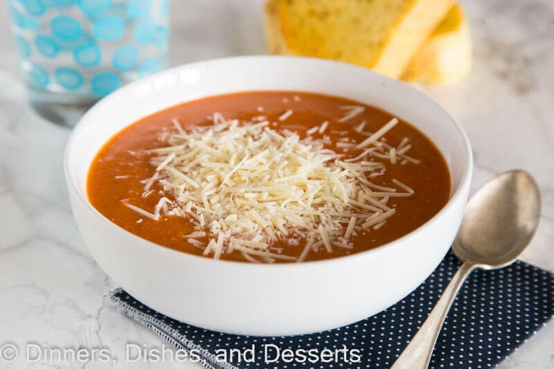 Creamy Tomato Soup - super easy tomato soup recipe you can make in the crock pot or on the stove top. Great for a quick dinner or lunch.