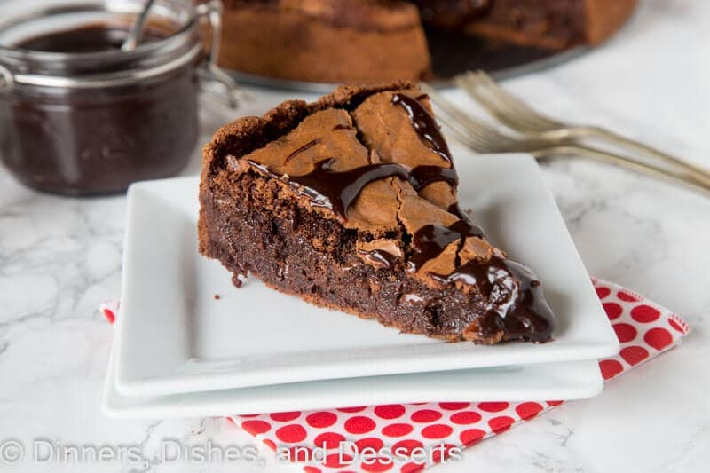 Slice of Gooey Brownie pie on a plate