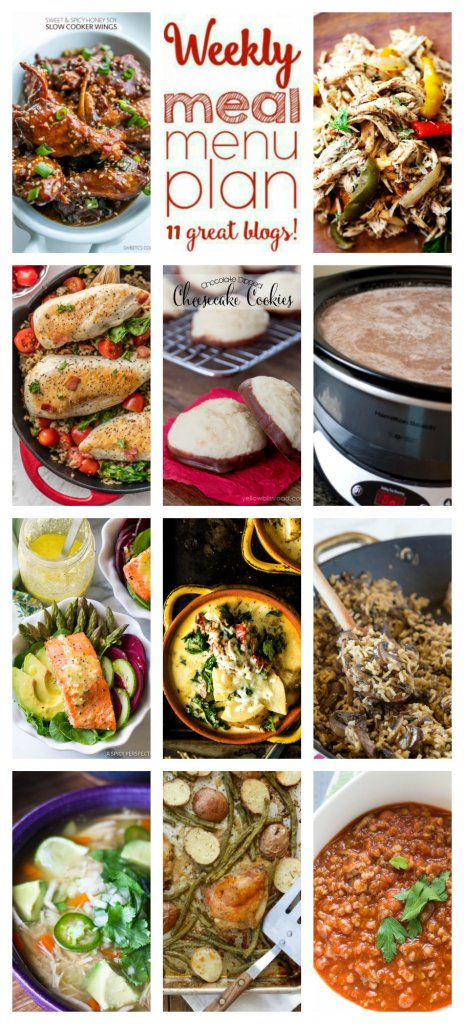 Weekly Meal Plan featuring recipes for Sheet Pan Chicken with Green Beans and Potatoes, BLT Chicken Skillet, Honey Soy Glazed Chicken Wings, Homemade Chili with Beef and Bulgur, Mexican Chicken Soup, Roasted Salmon Detox Bowl, Crock-Pot Balsamic Chicken, Mushroom Rice Pilaf, Slow Cooker Zuppa Toscana, Chocolate Dipped Cheesecake Cookies, and Creamy Crock-Pot Hot Chocolate. Get the recipes at barefeetinthekitchen.com