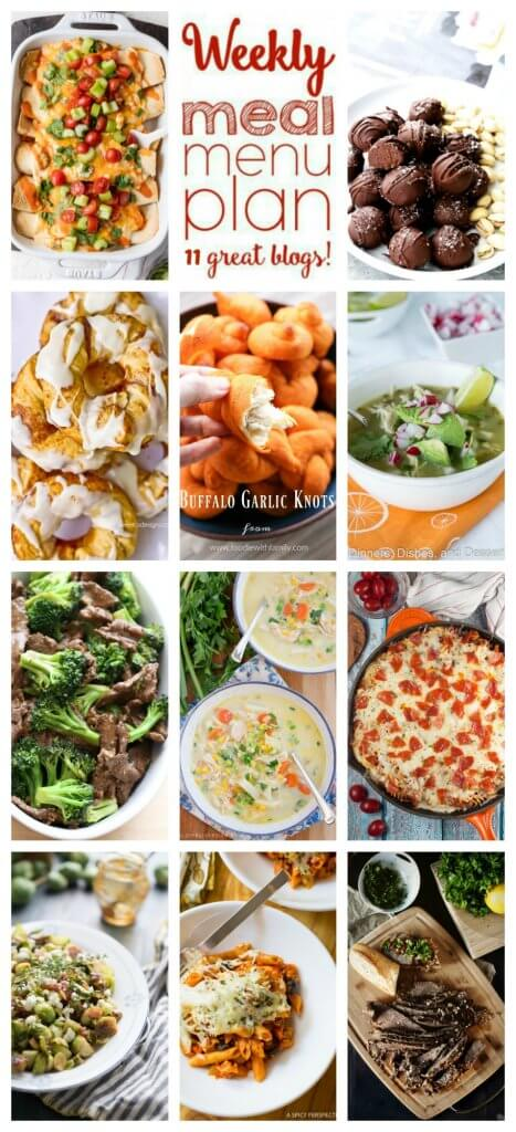 Weekly Meal Plan featuring recipes for Slow Cooker Verde Chicken Posole, Better Than Take-Out Chinese Beef and Broccoli, Creamy Buffalo Chicken Enchiladas, Supreme Pizza Baked Ziti, Slow Cooker Brisket, One Pan Pizza Pasta Casserole, Chicken Corn Chowder, Buffalo Garlic Knots, Sauteed Brussels Sprouts with Fig Jam, Salted Pistachio Dark Chocolate Truffles, and Cinnamon Roll Donuts. Get them all at barefeetinthekitchen.com