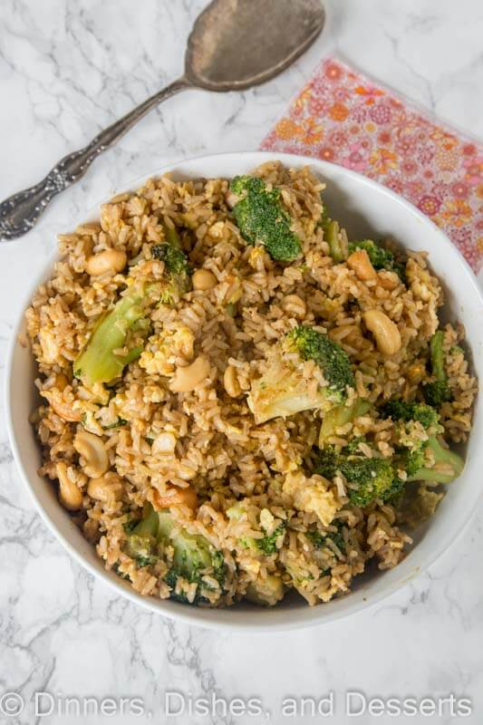 Nutty Fried Rice - a healthier fried rice recipe with cashews, broccoli, mushrooms and a creamy peanut butter dressing. So good, you won't even know you are eating something good for you!