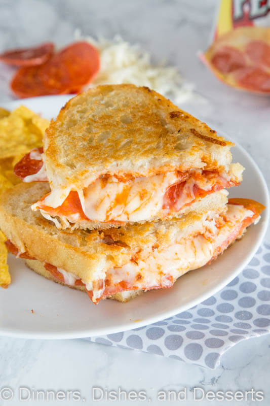 Pepperoni Pizza Grilled Cheese Sandwich - Take your favorite grilled cheese sandwich up a notch and make it taste like pepperoni pizza!
