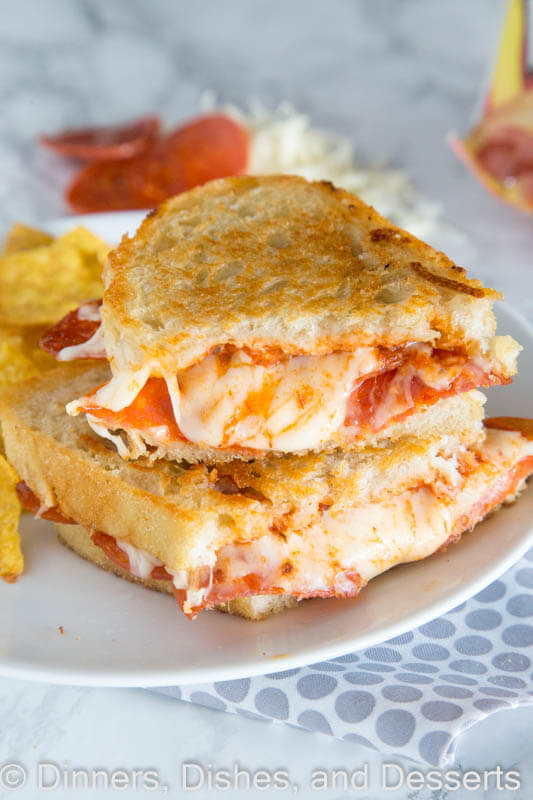 Pepperoni Pizza Grilled Cheese Sandwich - Take your favorite grilled cheese sandwich up a notch and make it tasted like pepperoni pizza!