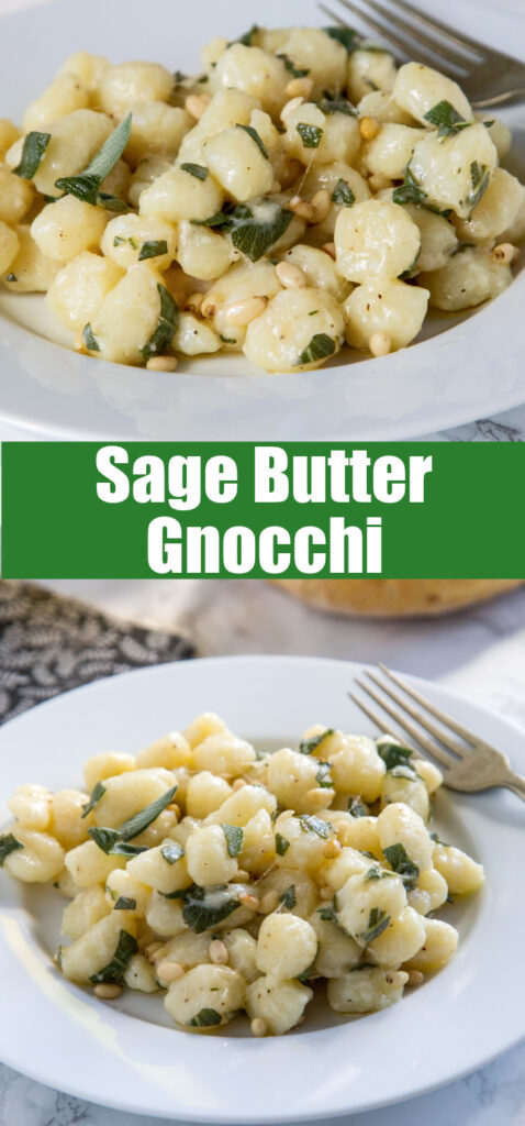sage butter gnocchi on a plate close up