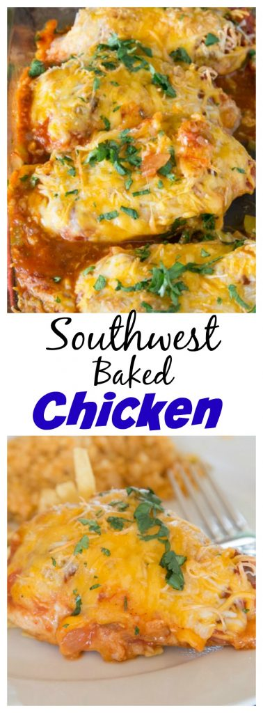 Southwest Baked Chicken - a baked chicken recipe that is ready in no time, with tons of flavor. Just 4 ingredients and dinner is done!