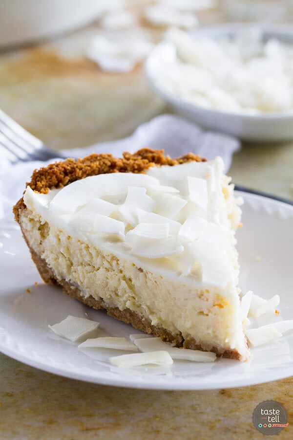 coconut cheesecake slice on a plate