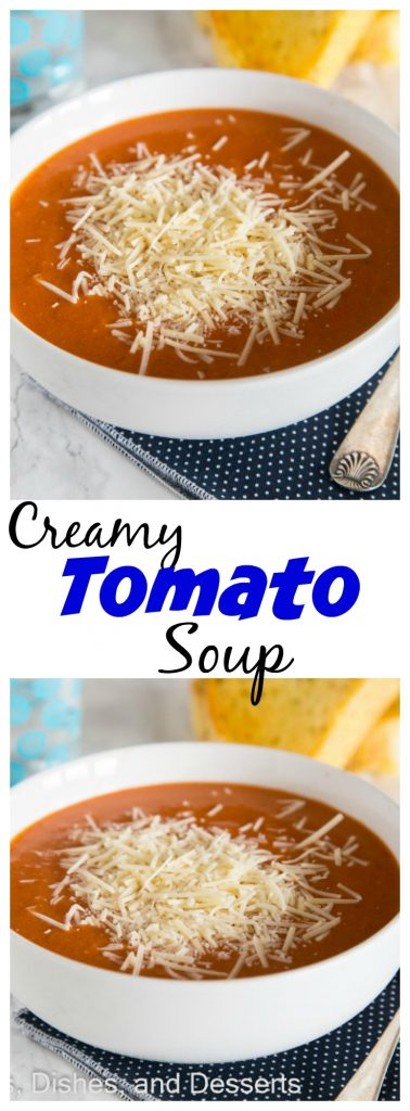 Close up of Creamy tomato soup