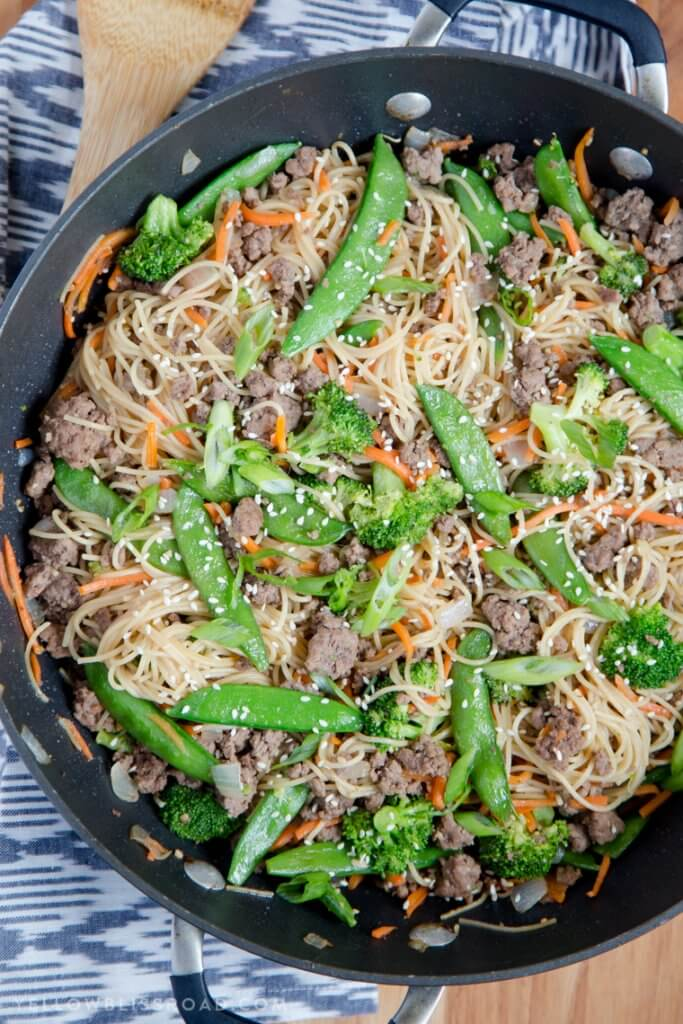 Ground Beef Noodle Stir Fry {Yellow Bliss Road}