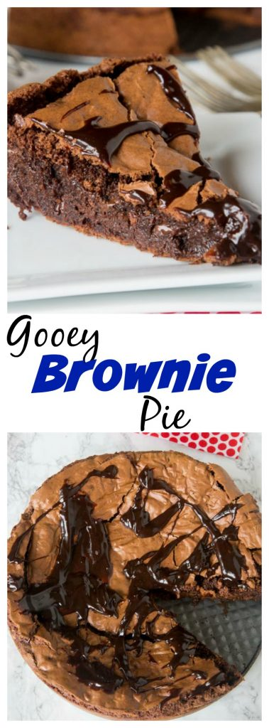 Gooey Brownie Pie - a gooey chocolate brownie with a crackly top baked into a pie and topped with hot fudge. A delicious and easy dessertfor any chocolate lover.
