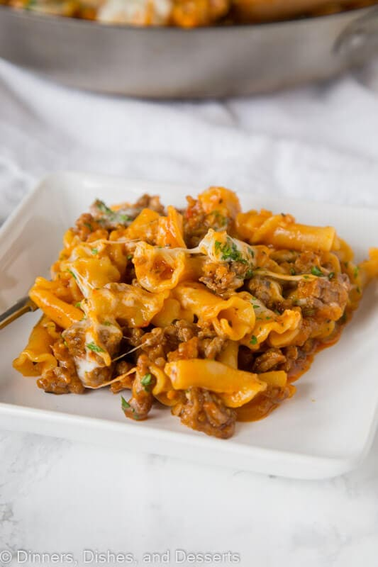 A plate of food, with homemade hamburger helper