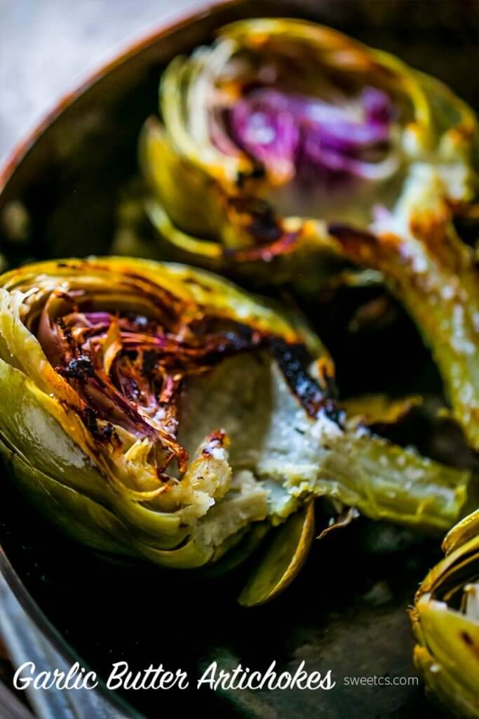 Charred Garlic Butter Artichokes {Sweet C's}