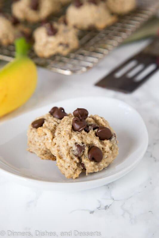 banana chocolate chip cookies on a plate