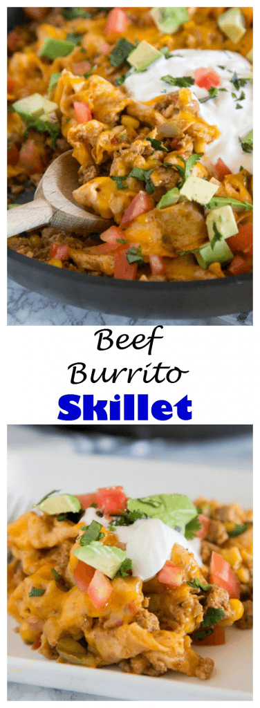 Beef Burrito Skillet - Mix up your taco night with this one pan meal that tastes like a beef burrito in a pan! Top with your favorite taco toppings!