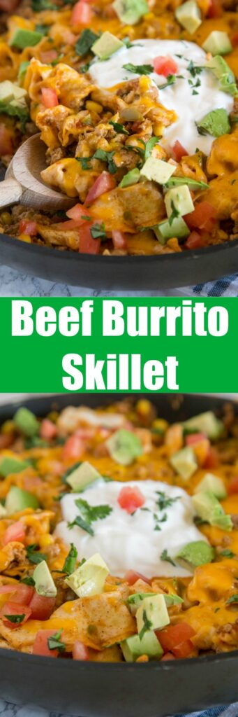 beef burrito skillet with avocado and tomatoes on top