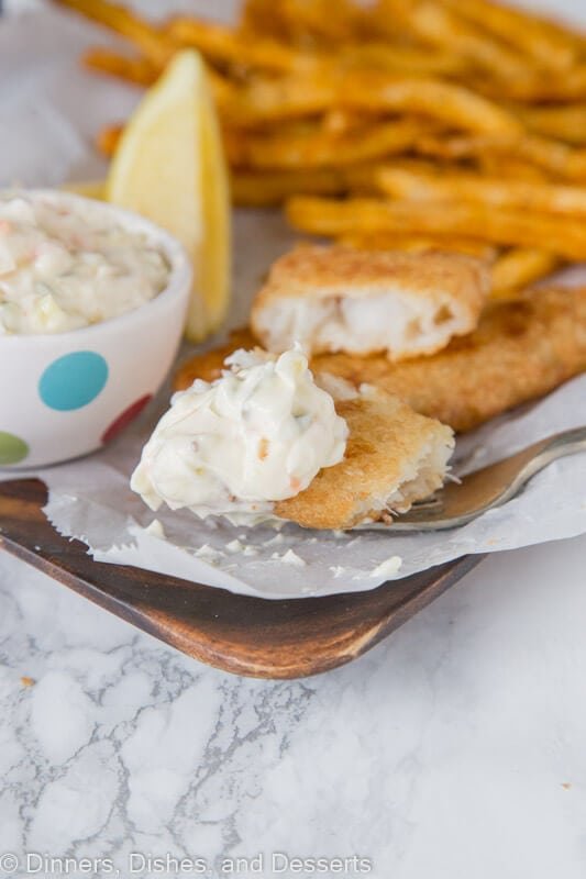 Copycat Red Lobster Tartar Sauce - Make fish and chips at home and enjoy dipping in a homemade tartar sauce that is a copycat of Red Lobster!