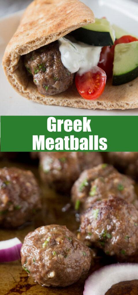 greek meatballs close up with tzatziki sauce
