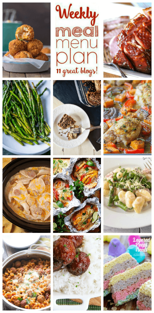 Weekly Meal Plan featuringrecipes for Crock Pot Sausage Pierogi Casserole, Creamy Spring Gnocchi, Chicken and Rice Fajitas in Foil, Skillet Meatball Lasagna, Healthy Caribbean Curry Chicken Sheet Pan Dinner, Balsamic and Dijon Glazed Ham, Old Fashioned Ham Balls, Deep Fried Mashed Potato Bites, Pan Fried Asparagus, Layered Peeps Treats, and Sour Cream Coffee Cake. Get them all at barefeetinthekitchen.com