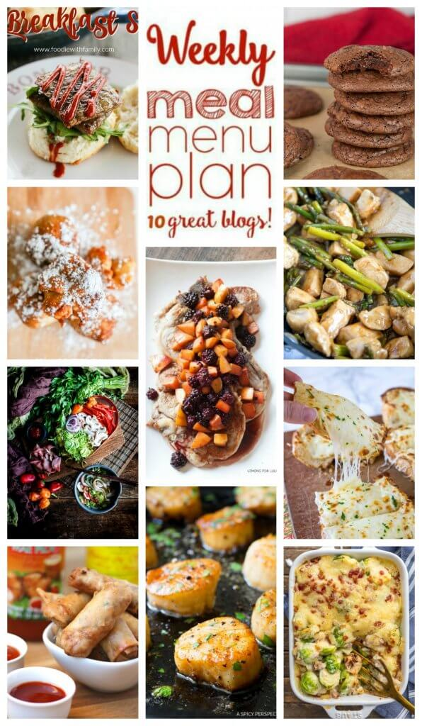Weekly Meal Plan Week 93 - 10 great bloggers bringing you a full week of recipes including dinner, sides dishes, and desserts!