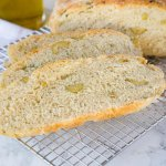 No Knead Skillet Olive Bread
