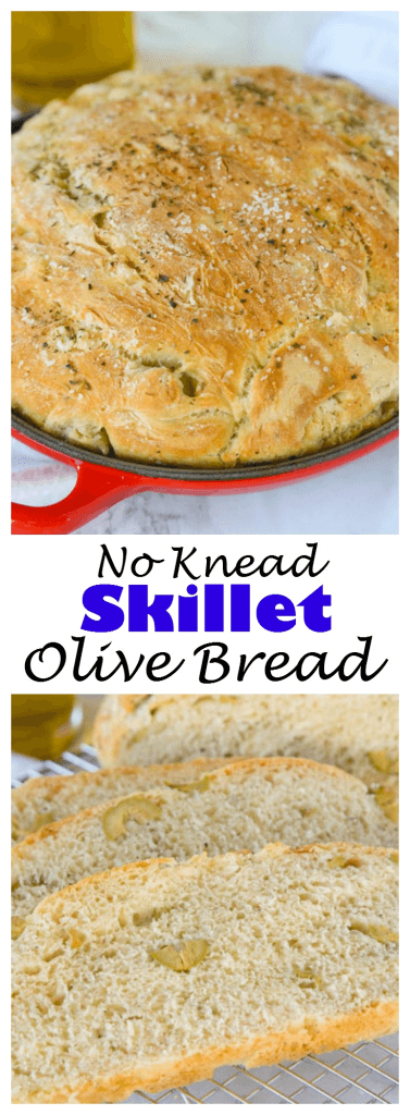 No Knead Skillet Olive Bread - a super easy homemade bread, no-knead, crusty and delicious! Packed with green olives, garlic and herbs.
