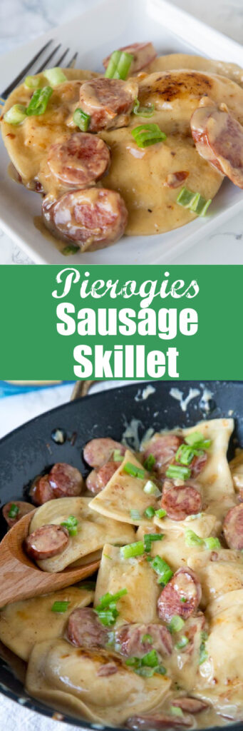 pierogies sausage skillet close up