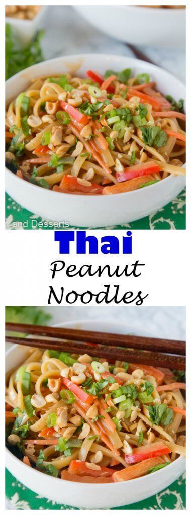 Thai Peanut Noodles - Super easy Asian noodles mixed with a creamy peanut butter sauce with bell peppers and carrots.