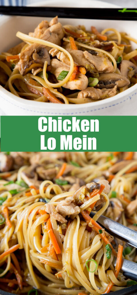 chicken lo mein close up in a skillet