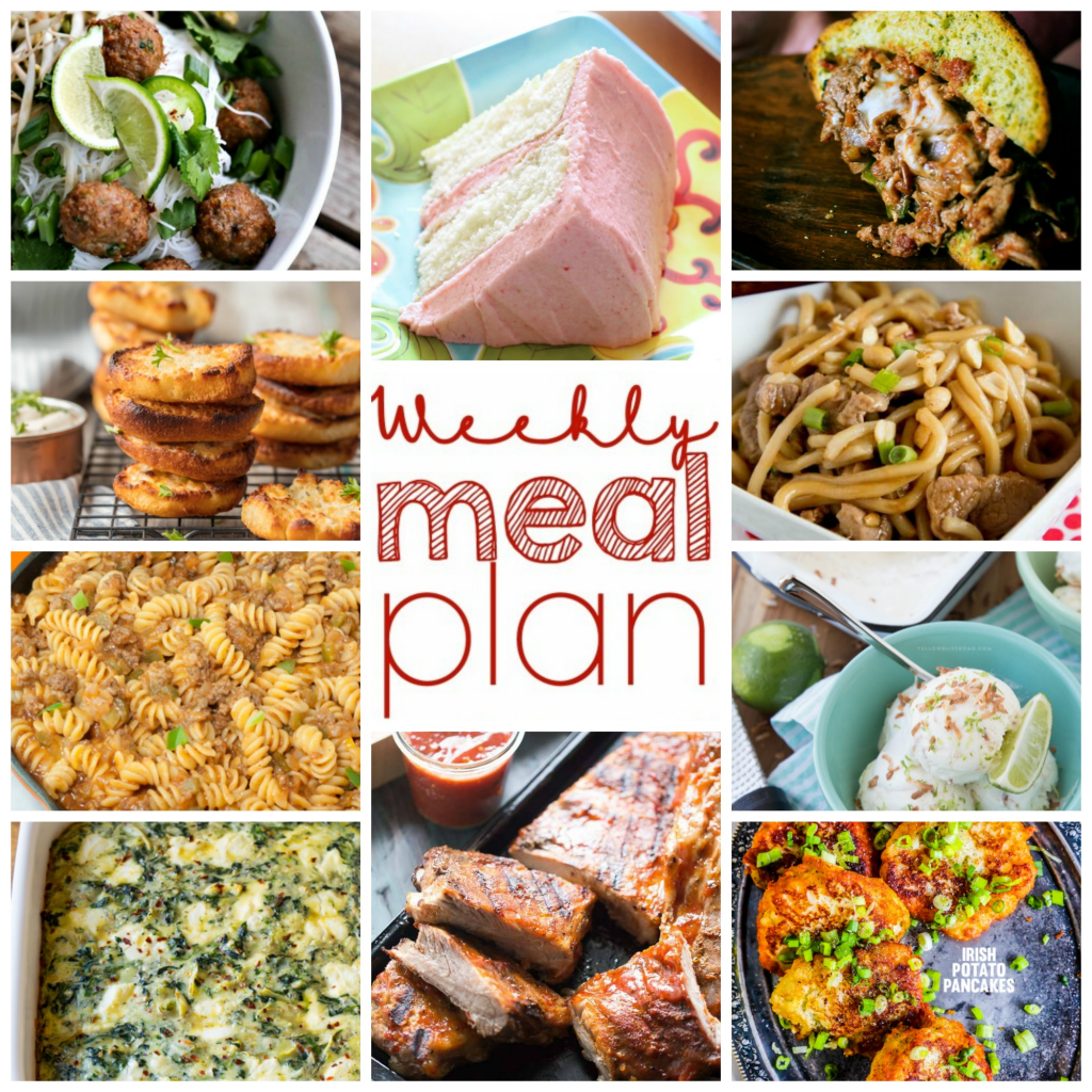 Weekly Meal Plan Week 95 - 10 great bloggers bringing you a full week of recipes including dinner, sides dishes, and desserts!