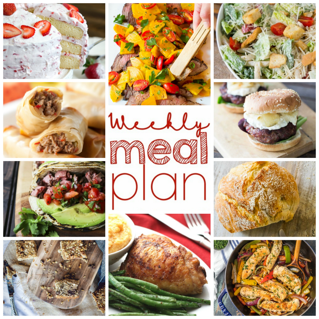 Weekly Meal Plan Week 97 - 10 great bloggers bringing you a full week of recipes including dinner, sides dishes, and desserts!