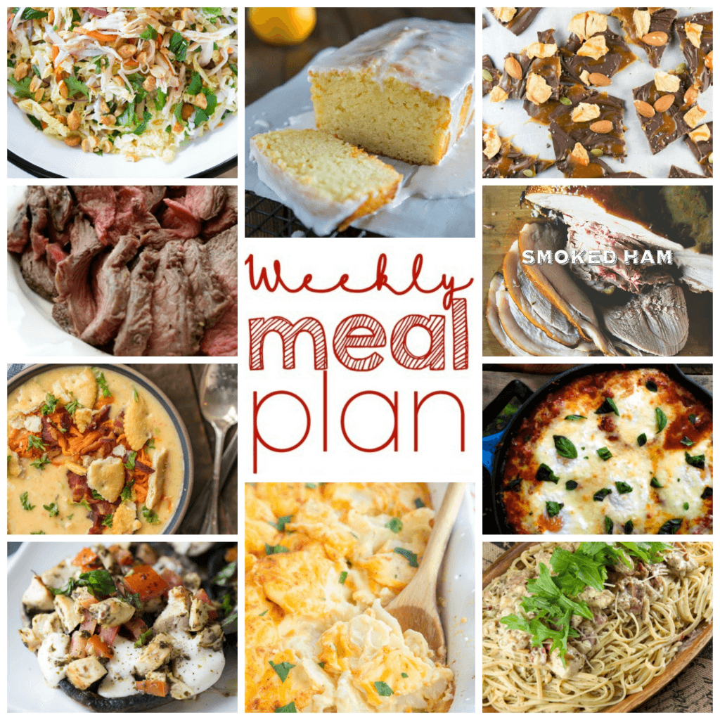 Weekly Meal Plan Week 91 - 10 great bloggers bringing you a full week of recipes including dinner, sides dishes, and desserts!