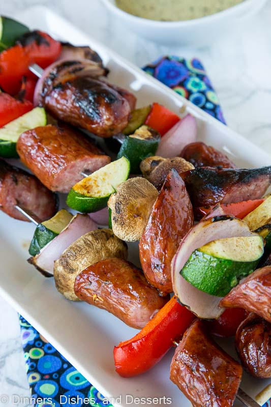 Grilled Sausage and Vegetable Kebobs - fire up the grill, use Polish Sausage and your favorite veggies, to make these easy kebobs for dinner or for your get togethers this summer!