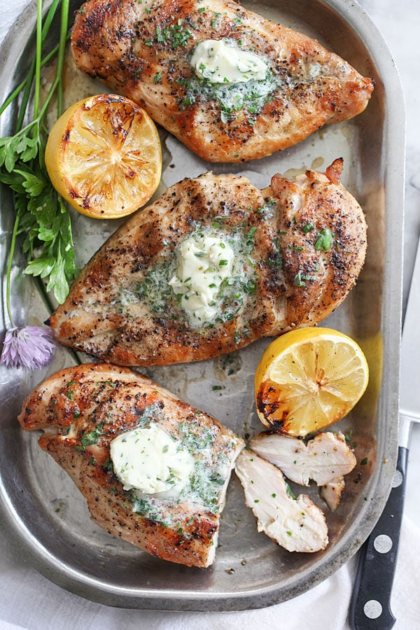 Grilled Chicken Breasts with Chive Herb Butter {Foodie Crush}