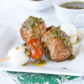 Italian Meatball Caprese Skewers