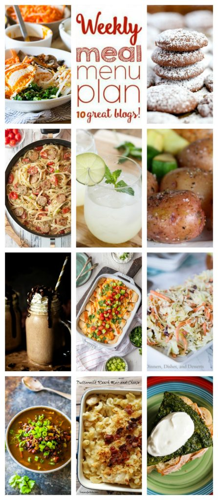 Weekly Meal Plan Week 101 – 10 great bloggers bringing you a full week of recipes including dinner, sides dishes, and desserts!