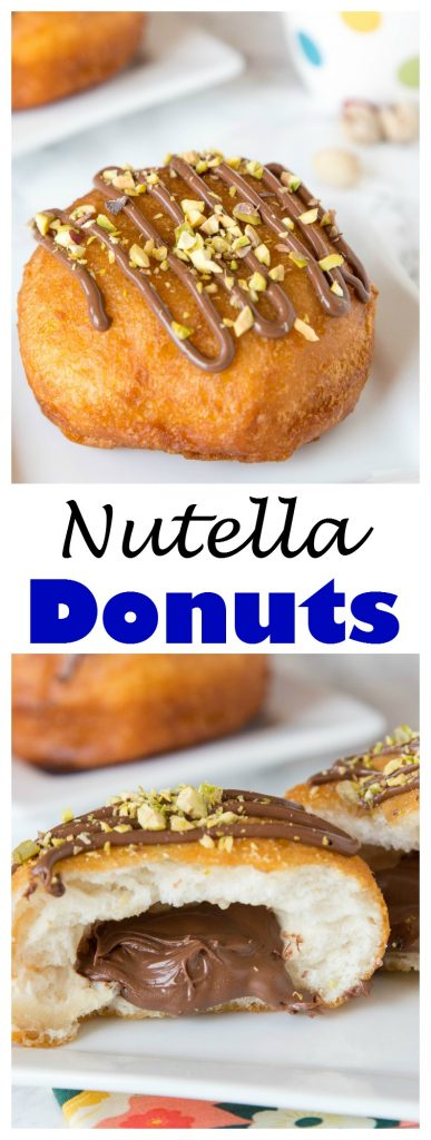 Nutella Donuts Recipe - make your own donuts at home using biscuits! They fry up quickly and are super easy. Filled with Nutella and topped with pistachios.