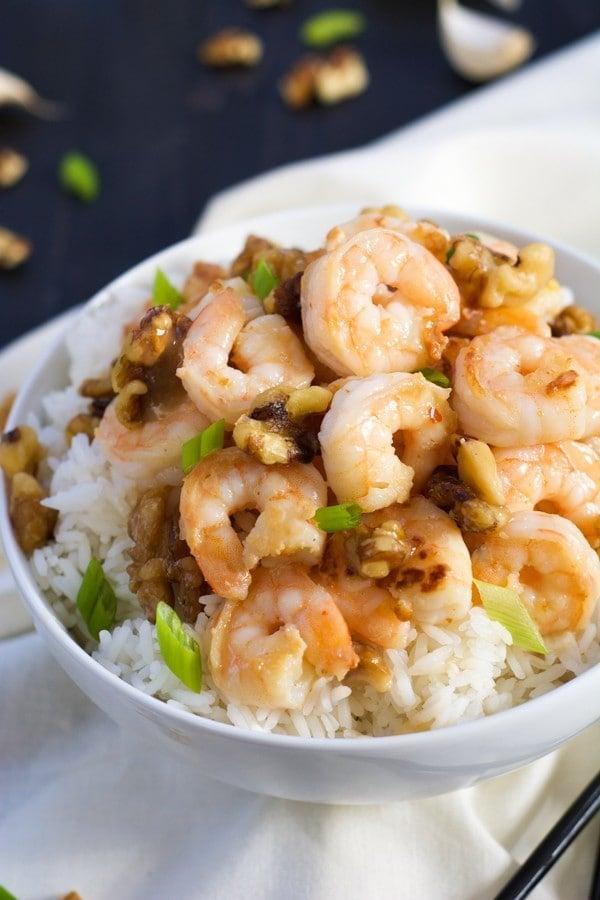 Skinny Honey Walnut Shrimp {Rachel Cooks}