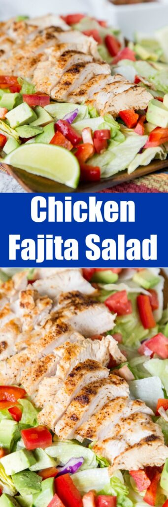Chicken Fajita Salad - a hearty salad topped with grilled chicken, peppers, onion, avocados, and a salsa vinaigrette dressing. Not your average salad!