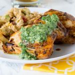 Grilled Chicken Thighs with Chile Herb Sauce