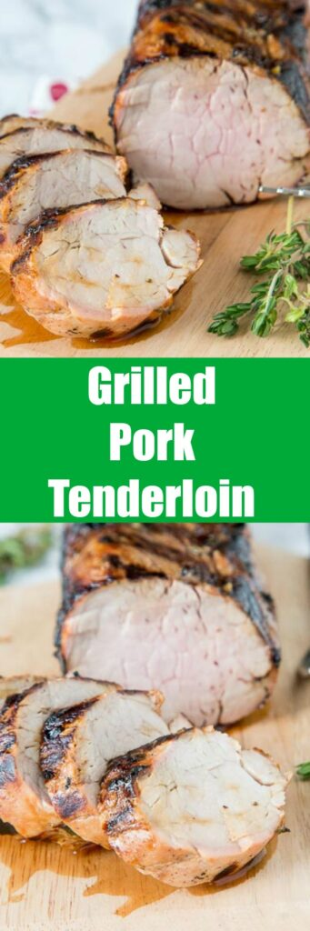 Herb Grilled Pork Tenderloin - a flavorful marinade with lemon juice and fresh herbs makes this grilled pork tenderloin super moist and tender. Great on chicken and fish too!