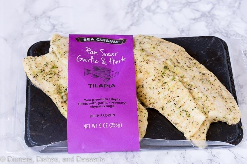 package of pan seared garlic & herb fish