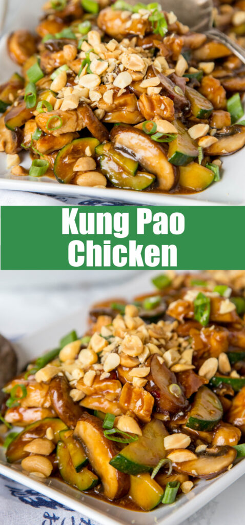 close up kung pao chicken stir fry on white plate