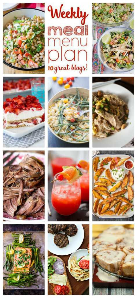 Weekly Meal Plan Week 104 – 10 great bloggers bringing you a full week of recipes including dinner, sides dishes, and desserts!