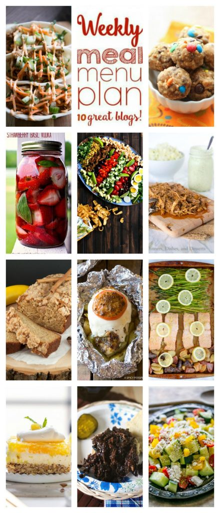 Weekly Meal Plan Week 109– 10 great bloggers bringing you a full week of recipes including dinner, sides dishes, and desserts!
