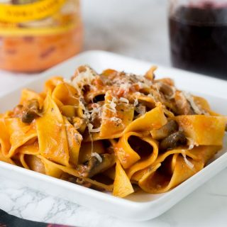 Pappardelle Pasta in Mushroom Sauce